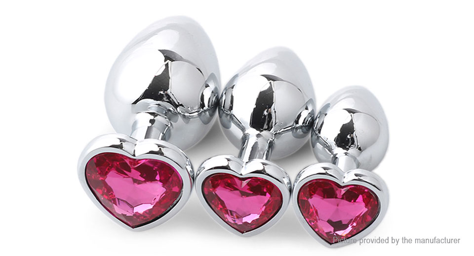 Runyu RYTZ-976 Heart Shaped Adult Metal Butt Anal Plug (3 Pieces)