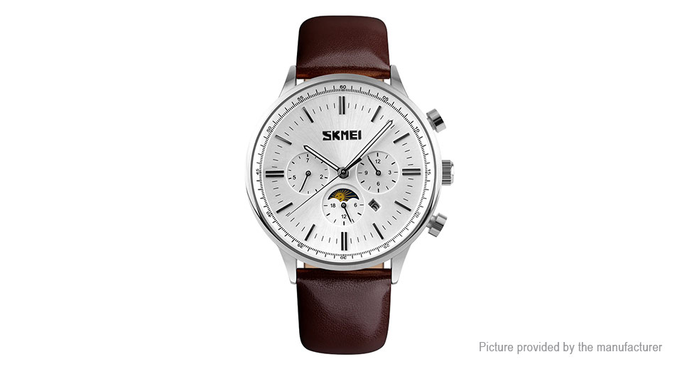 Authentic Skmei 9117 Men's Leather Band Analog Quartz Wrist Watch