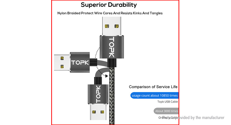 TOPK USB-C to USB 2.0 Magnetic Charging Cable (100cm)