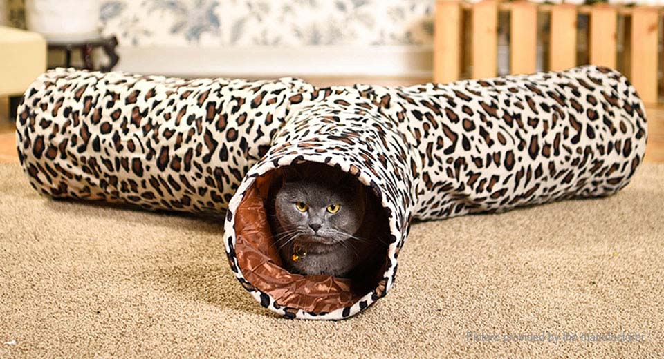 3CH Leopard Pattern Foldable Pet Dog Cat Playing Tunnel Play Toy