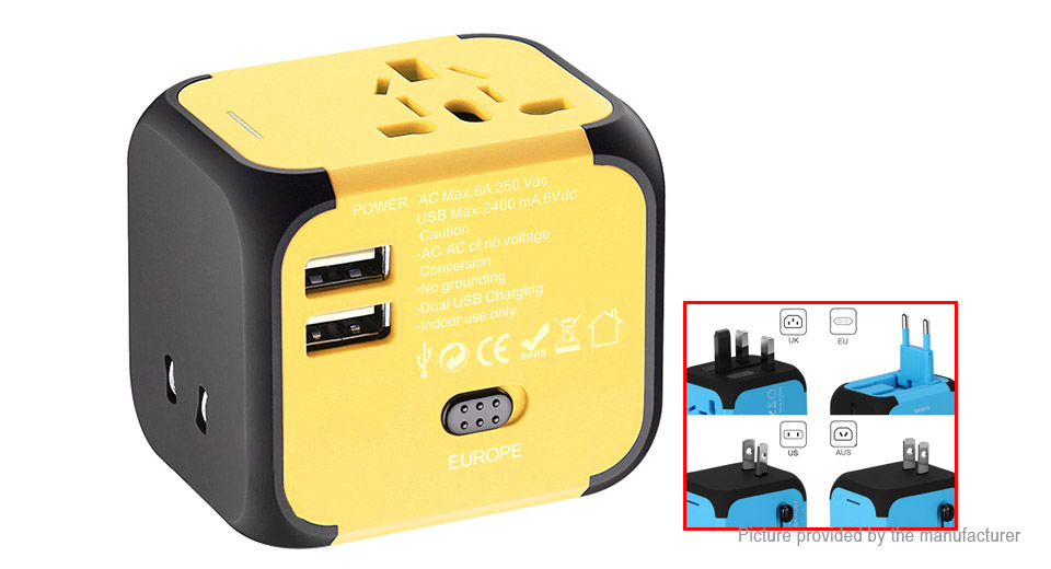 SL-176 Universal 2-Port USB AC Travel Charger Power Adapter