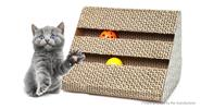 LEYOUPET Cat Scratcher Post Pad Cardboard Toy w/ Bell Ball for Pet Cat