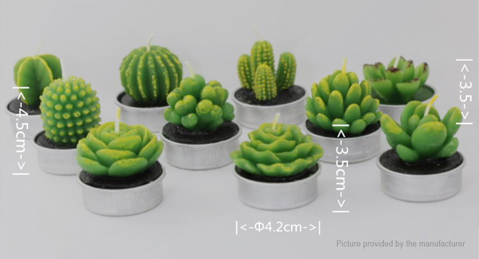 Decorative Cactus Candle Tea Light (6 Pieces)