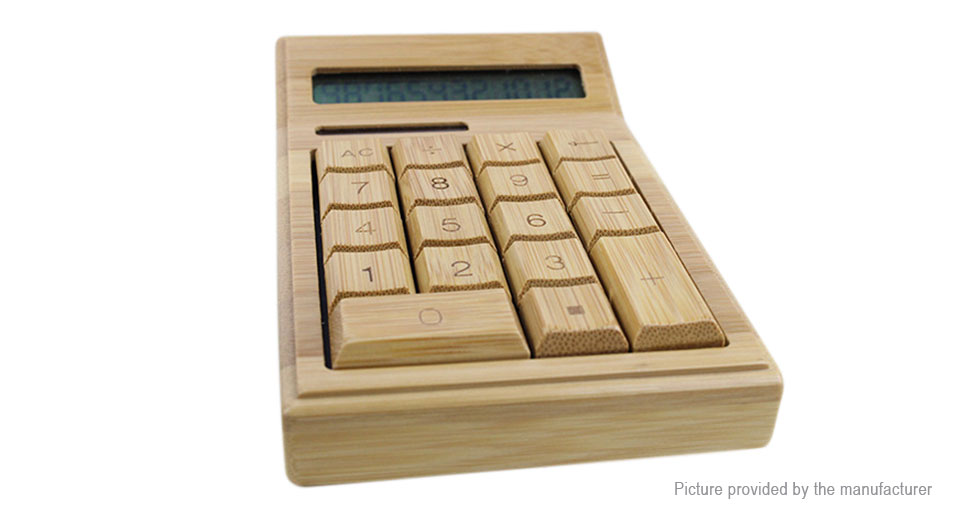 12-Digit Bamboo Solar Powered Wooden Calculator