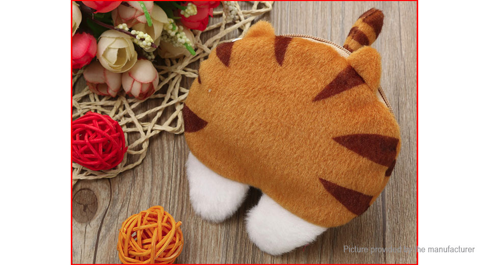 Women's Cute Cat Butt Tail Plush Change Wallets Coin Purse