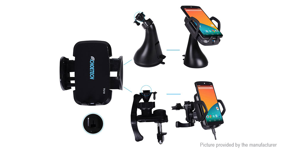 Authentic CHOETECH T510 Car Qi Inductive Wireless Charger Transmitter Holder Stand