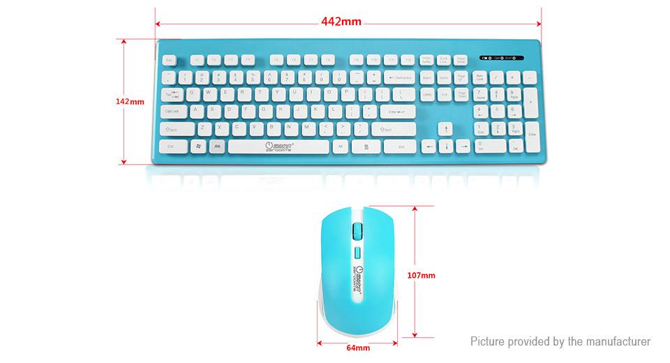 ZERODATE X1600 2.4GHz Wireless Mouse Keyboard Combo Set