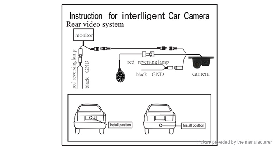 2-in-1 Car Rearview Backup Camera w/ Reverse Parking Radar Sensor on