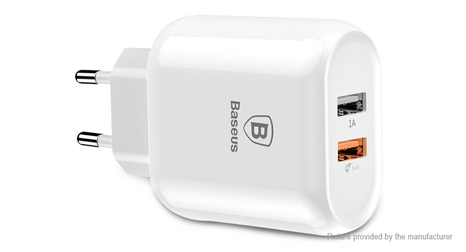 Authentic Baseus Bojure Series Dual USB Travel Wall Charger Power Adapter (EU)