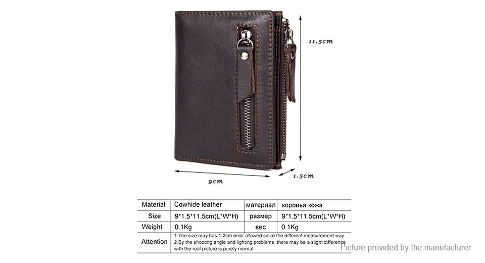 MVA Men's Leather Coin Purse Short Wallet Card Holder