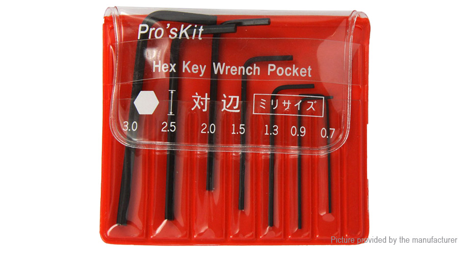 Pro'sKit 8PK-022 L Shaped Hex Key Wrench Set (7 Pieces)