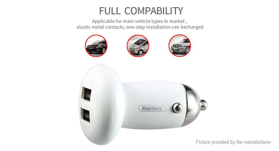 Authentic REMAX Mushroom Shaped Dual USB Car Charger Power Adapter