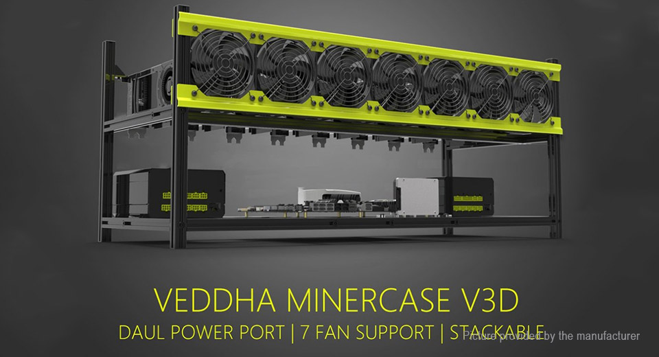 VEDDHA V3D 8-GPU Aluminum Stackable Mining Rig Open Air Frame Case