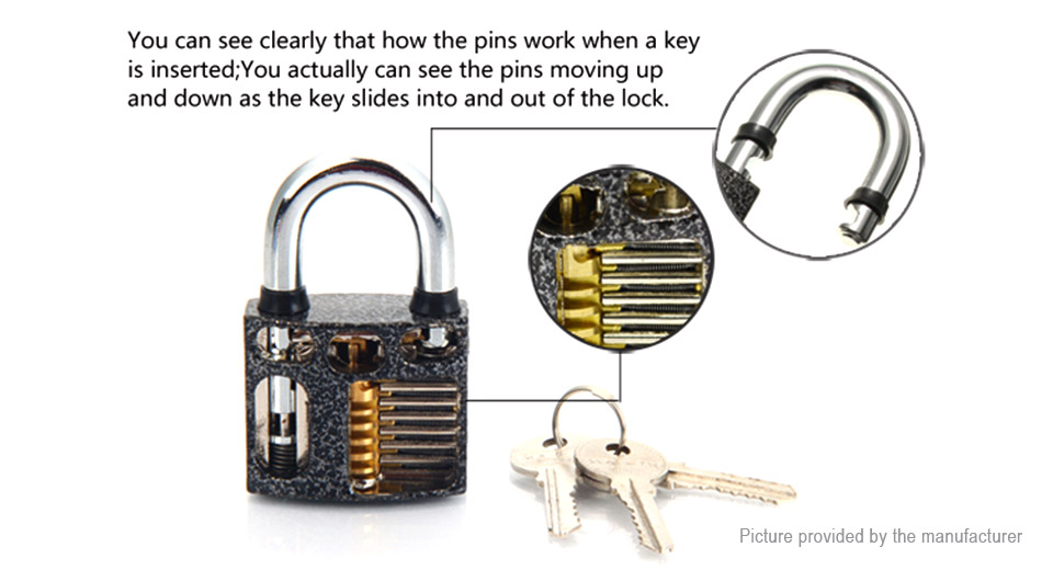 Practice Lock Padlock + Lock Pick Set (19 Pieces)