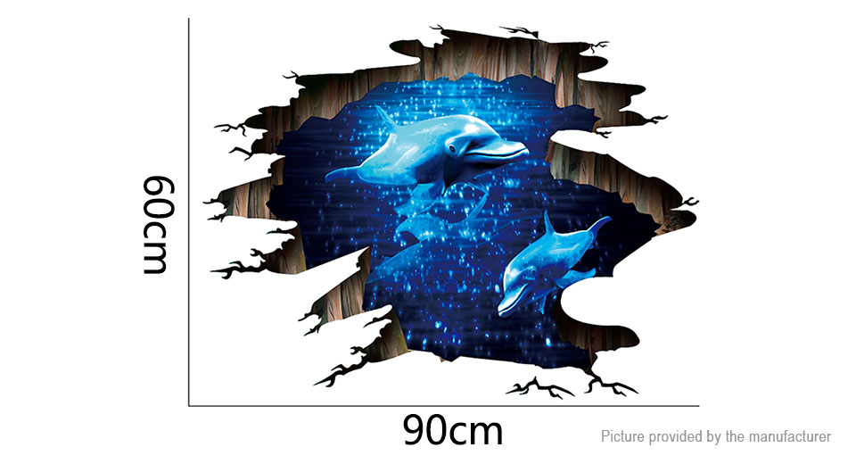 3D Deep Sea Dolphin Styled Removable Floor Wall Sticker Home Decor (2-Pack)