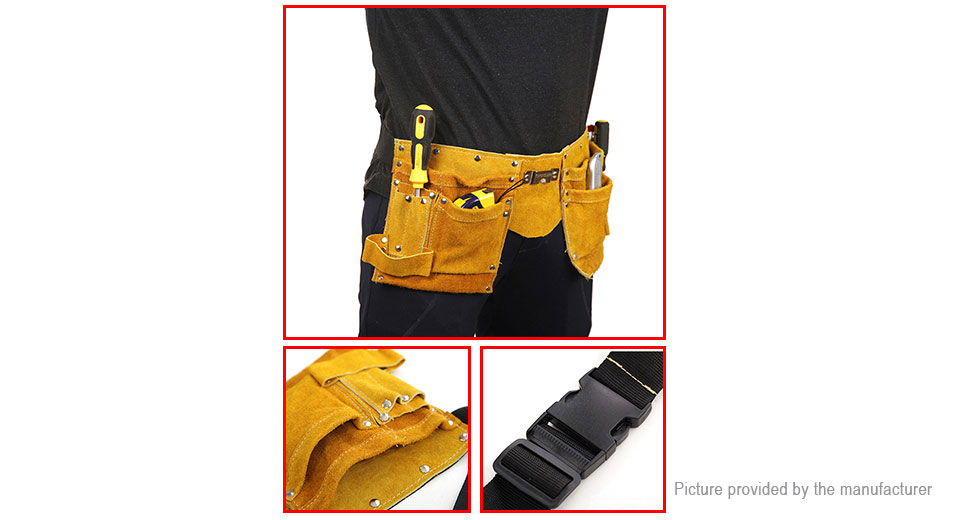 DINGFENG Electrician Carpenter Tool Leather Pouch Waist Bag