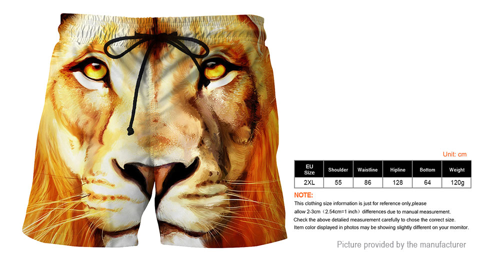 Product Image: 3d-tiger-print-men-s-casual-sports-beach-shorts