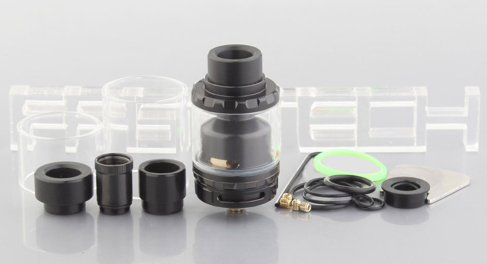 $11.56 KYLIN Styled RTA Rebuildable Tank Atomizer - dual tank capacity (2/6ml) / stainless steel + glass / 26mm diameter at FastTech - Great Gadgets, Great Prices