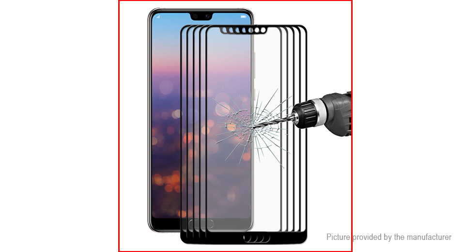 Hat.Prince 2.5D Tempered Glass Full Screen Protector for Huawei P20 (5-Pack)