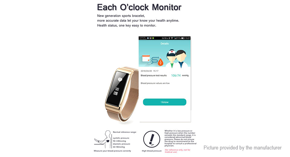 B29 0.87'' OLED Touch Screen Smart Bracelet Wristband