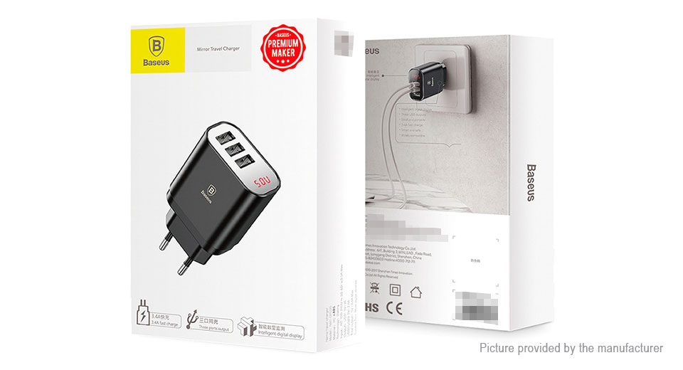 Authentic Baseus 3-Port USB Travel Wall Charger Power Adapter (EU)