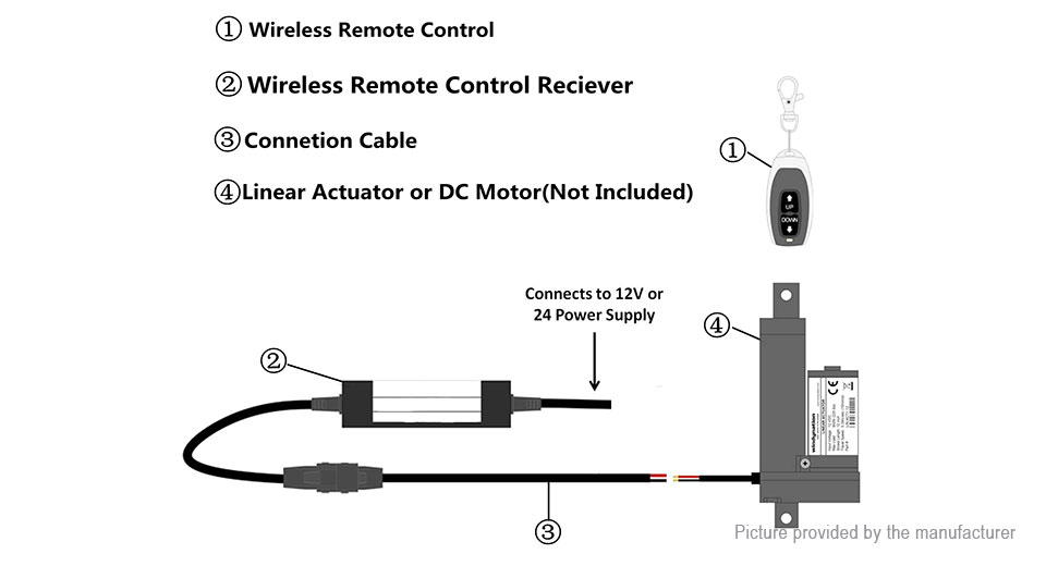 $20 52 DC Motor Linear Actuator Wireless Remote Control Up Down Stop DPDT  Switch at FastTech - Worldwide Free Shipping