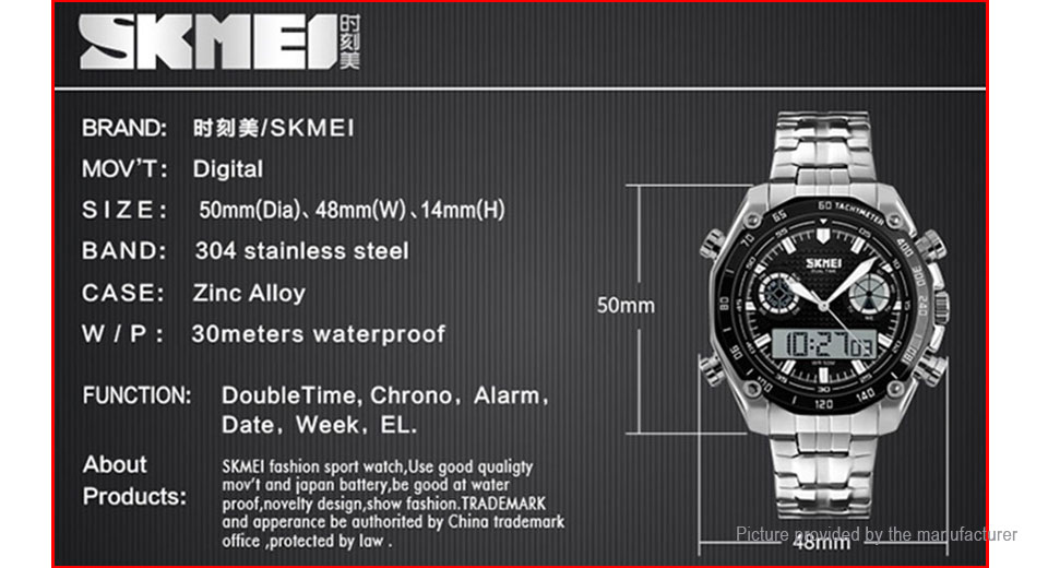 Authentic Skmei 1204 Men's Steel Band Digital Analog Quartz Wrist Watch