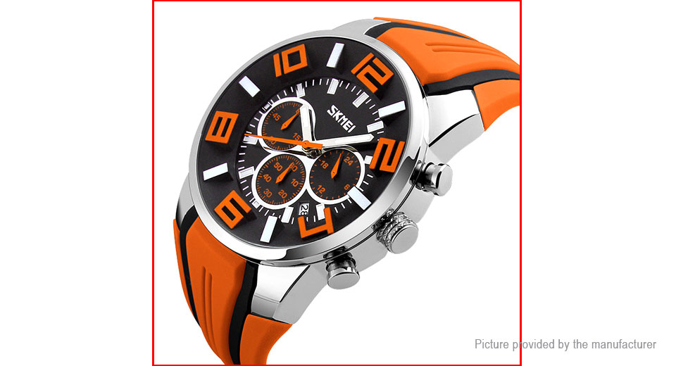 Authentic Skmei 9128 Men's Silicone Band Sports Analog Quartz Wrist Watch