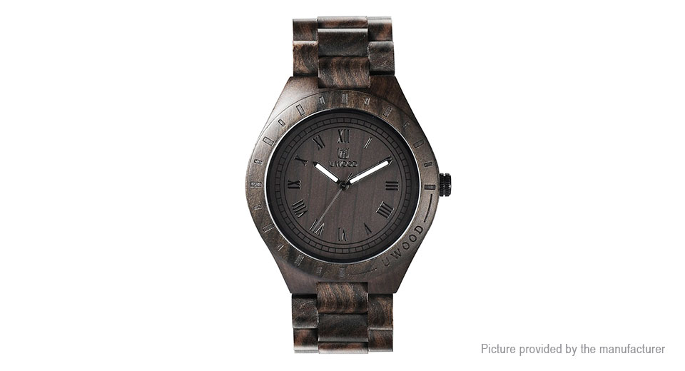 Authentic UWOOD UW-1001-B Men's Sandal Wood Analog Quartz Wrist Watch