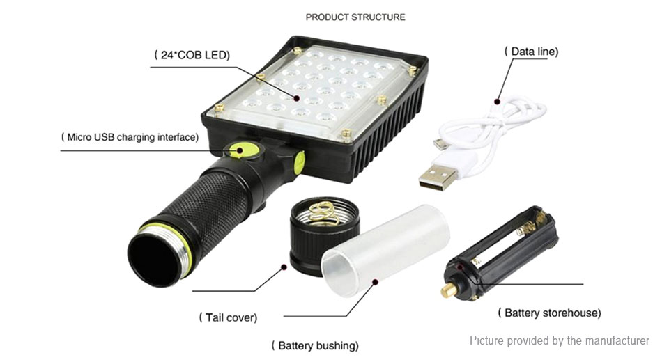 Yunmai 190C LED Flashlight Work Light w/ Focus Zoom