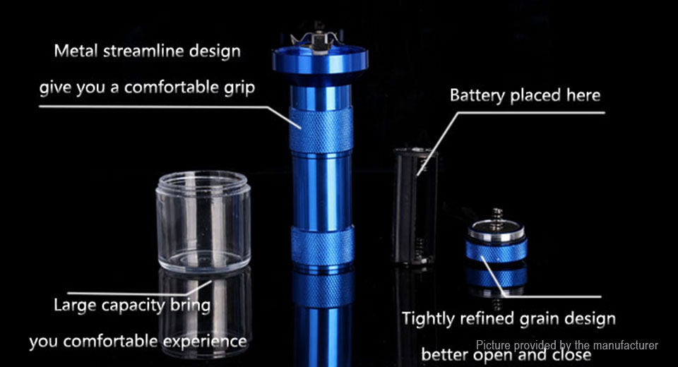 Flashlight Styled Aluminum Alloy Herb Tobacco Grinder Hand Crusher Muller