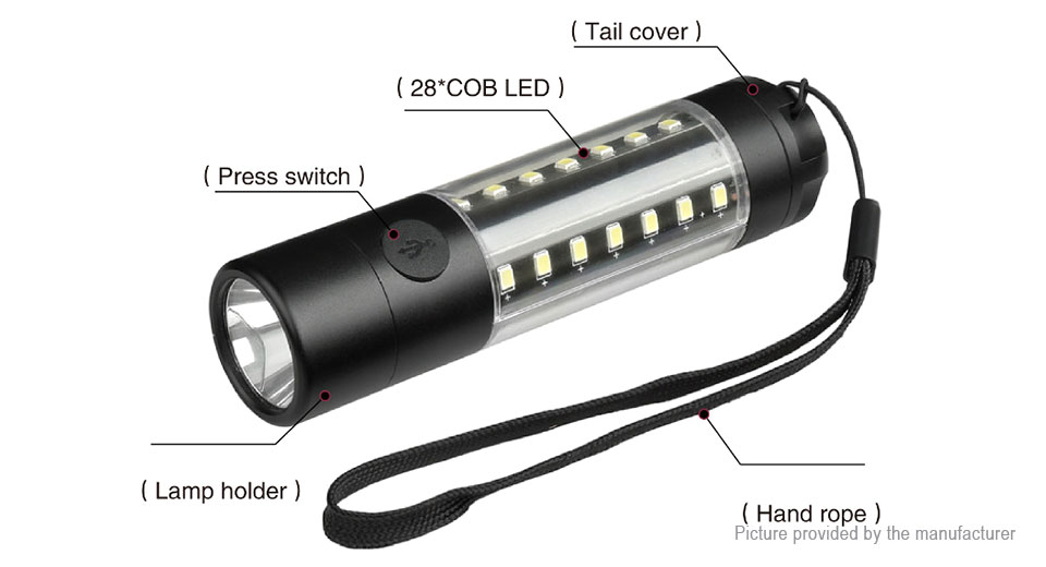 Yunmai 3509A Portable LED Flashlight Work Light w/ Focus Zoom