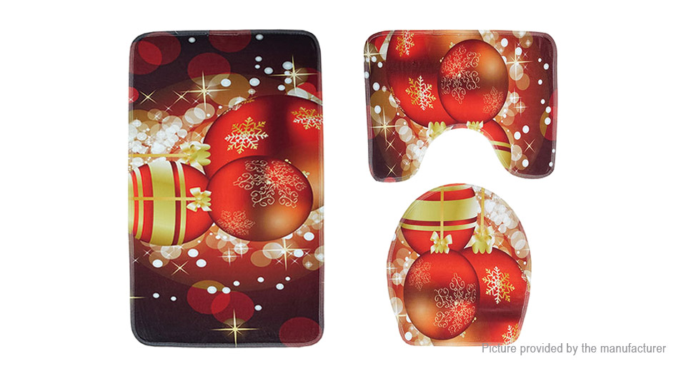 Peachy Dark Red Christmas Ball Styled Toilet Seat Cushion Carpet Bathroom Pad 3 Pieces Ocoug Best Dining Table And Chair Ideas Images Ocougorg