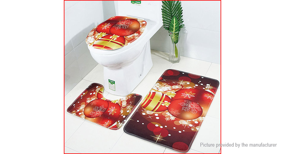 Stupendous Dark Red Christmas Ball Styled Toilet Seat Cushion Carpet Bathroom Pad 3 Pieces Unemploymentrelief Wooden Chair Designs For Living Room Unemploymentrelieforg