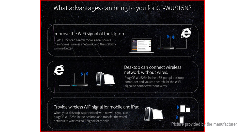 Authentic COMFAST CF-WU815N 150Mbps 2 4GHz USB 2 0 Wifi Adapter