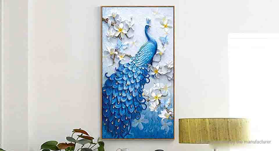Peacock 5D Diamond Painting Embroidery Cross Stitch DIY Craft Home Decor (62*40cm)