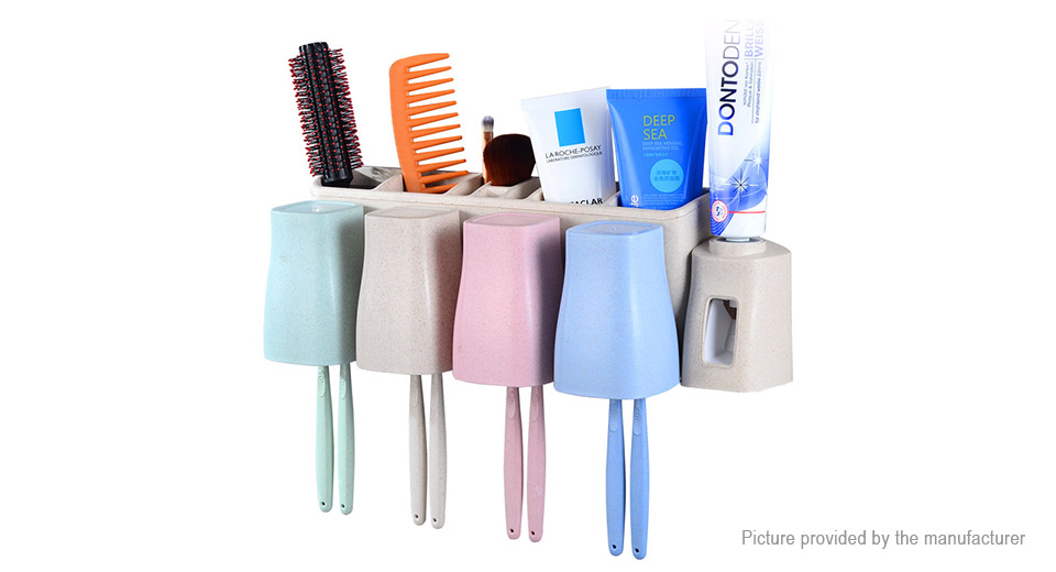 DANLE Multifunctional Wheat Straw Bathroom Wash Set Toothbrush Toothpaste Holder