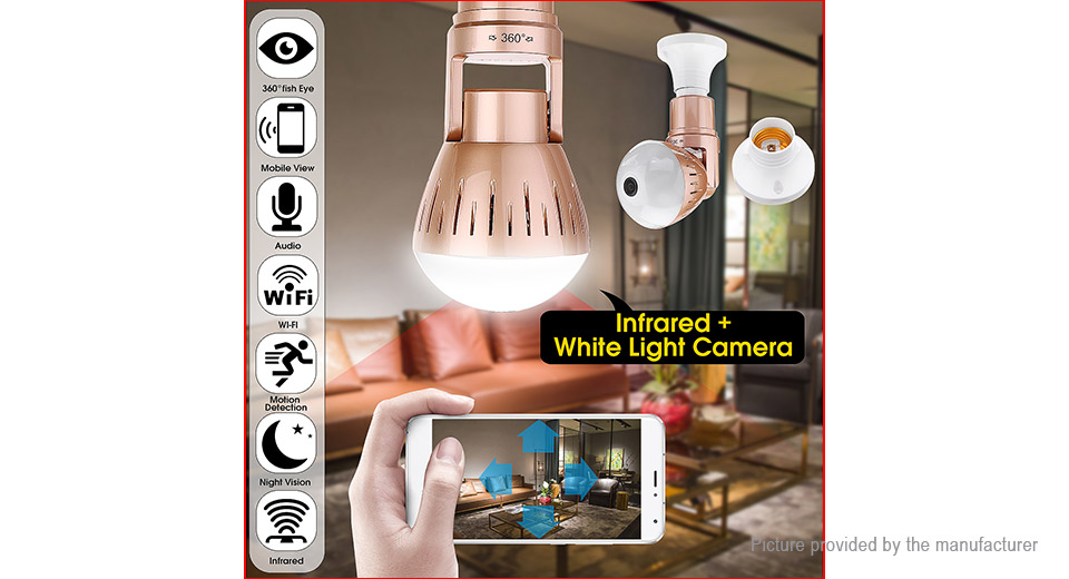 2-in-1 E27 LED Light Bulb 1080p HD Panorama Wifi IP Camera