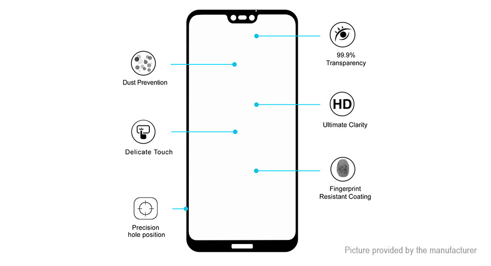 Hat.Prince 2.5D Tempered Glass Screen Protector for Huawei P20 Lite/Nova 3E