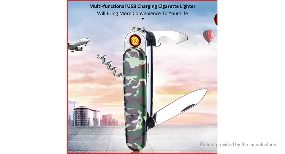 5-in-1 Multifunctional USB Rechargeable Electronic Cigarette Lighter