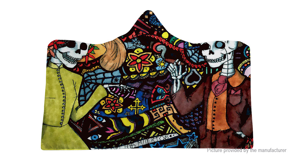3D Digital Print Thickened Halloween Wearable Skeleton Hooded Blanket