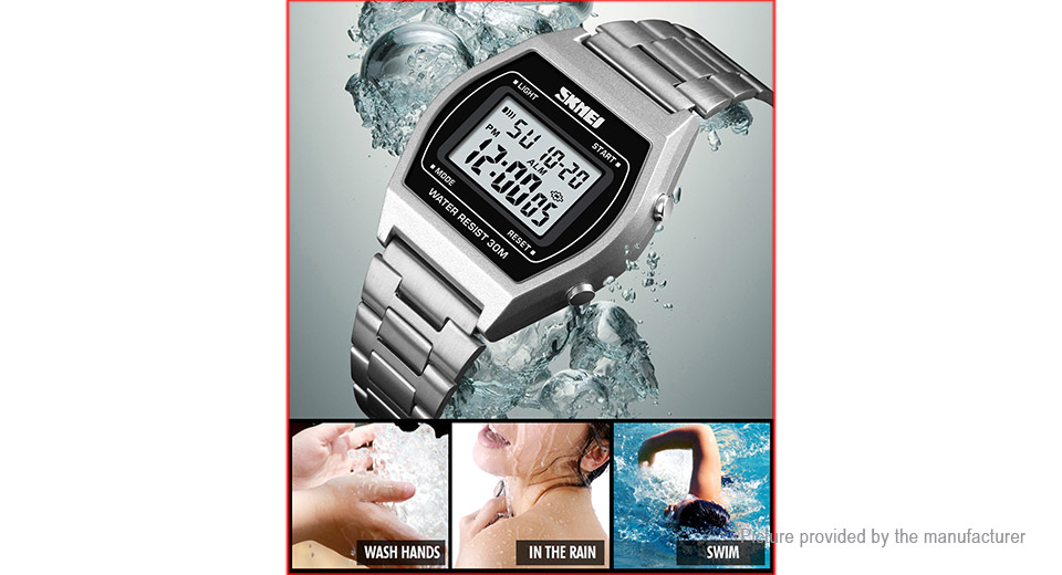 Authentic Skmei 1328 Men's Steel Band Sports Digital Wrist Watch