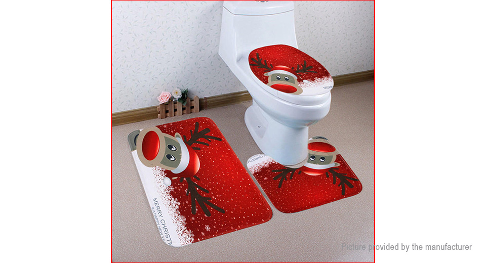 christmas deer style toilet seat cover bathroom rug mat set 3 pieces