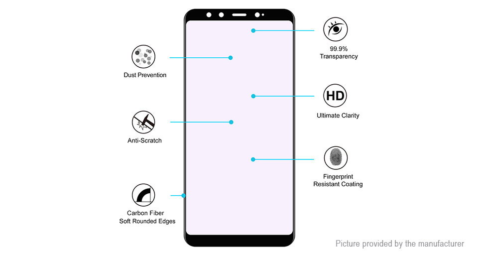 Hat.Prince 3D Tempered Glass Screen Protector for Xiaomi Mi A2/Mi 6X