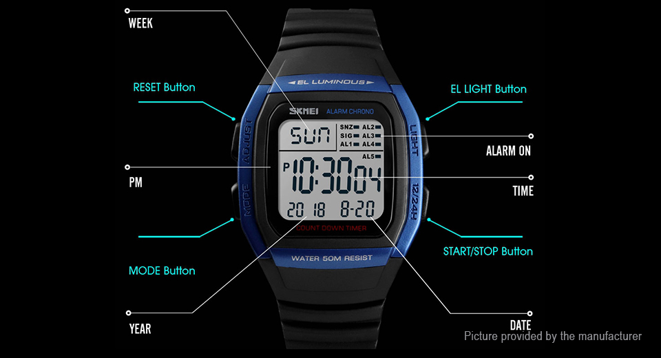 Authentic Skmei 1278 Men's PU Band Sports Digital Wrist Watch