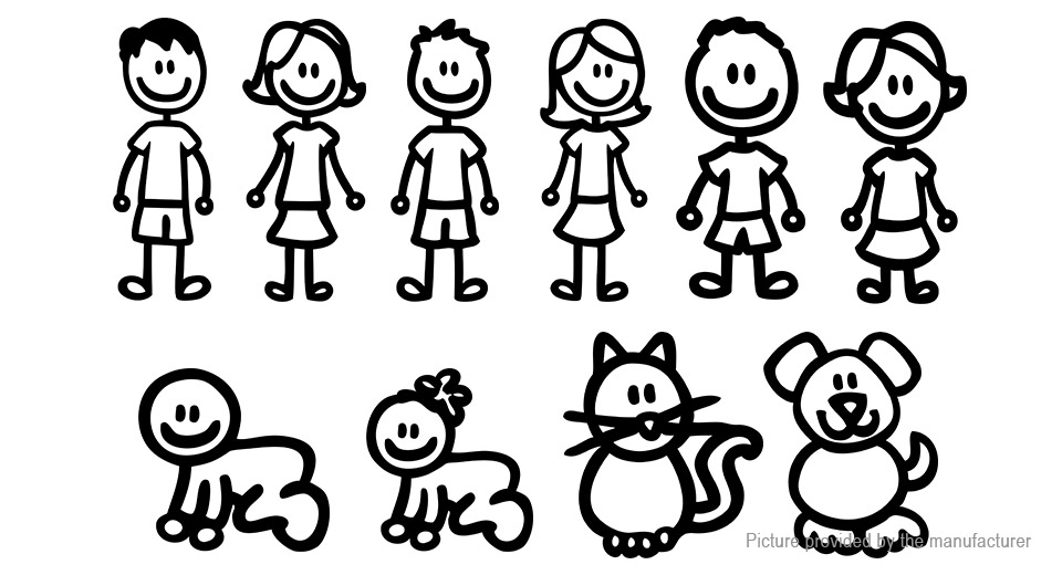 5 08 Family Stick Figure Decal Car Window Sticker 10 Pieces At