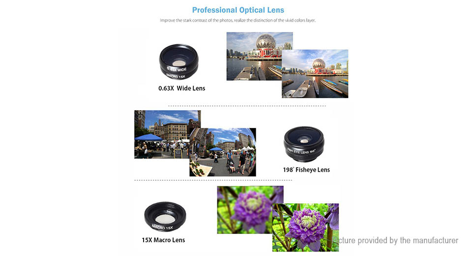 APEXEL APL-T18XBZJ5 4-in-1 Clip-on Camera Lens Kit