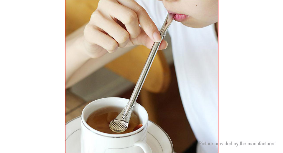 Stainless Steel Multifunctional Coffee Filter Spoon Tea Shaker Straw (2-Pack)