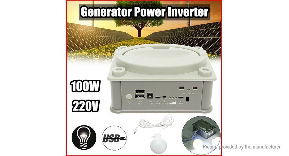 PB01-100 Portable Solar Generator Power Inverter Emergency UPS Supply