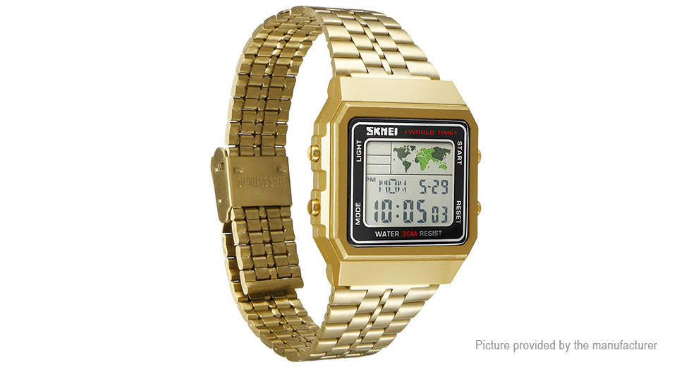 Authentic Skmei 1338 Men's Stainless Steel Band Sports Digital Wrist Watch